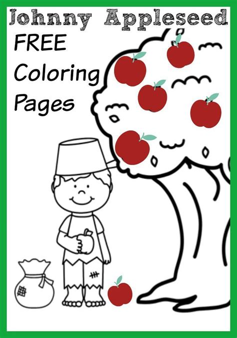 johnny appleseed apple themed coloring pages crafts
