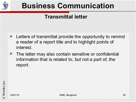 Transmittal Letter Parts Business Communication Module 6
