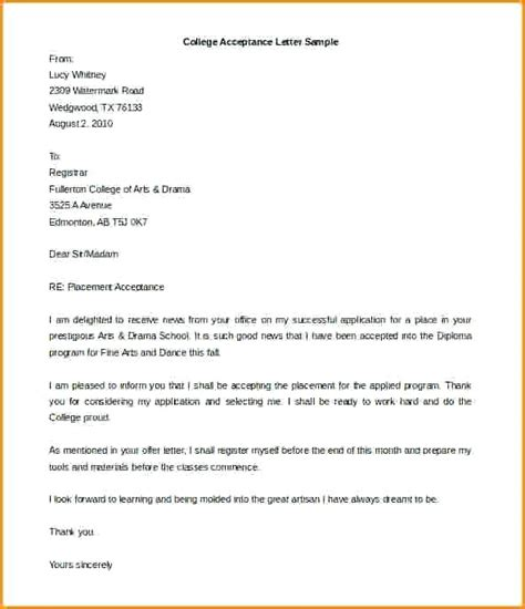 College Acceptance Letter Exle acceptance letter 8 college acceptance letters exles acceptance letter for college admission