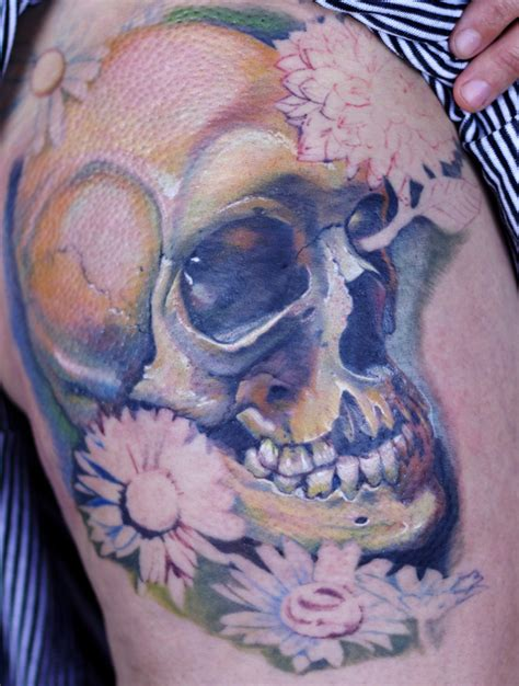 skull with flowers tattoo designs best skull and flowers design wallpaper