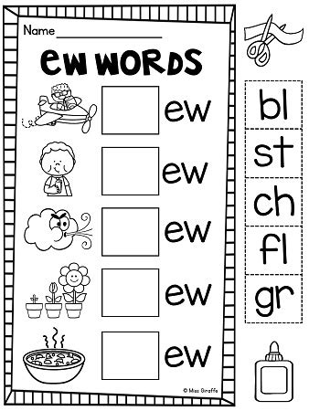 ew pattern words ew ue ui worksheets activities no prep kids cuts