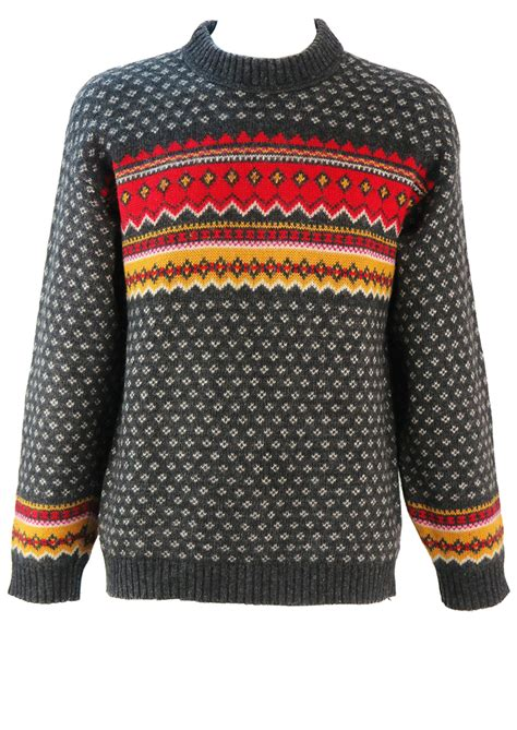 pattern wool jumper grey wool jumper with red yellow white fair isle