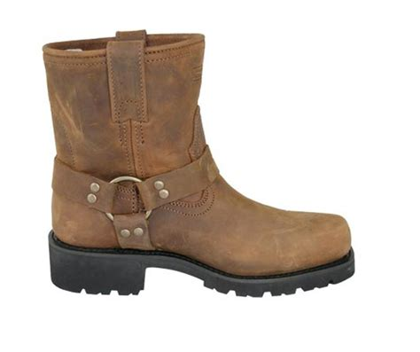 s harness brown leather motorcycle boots