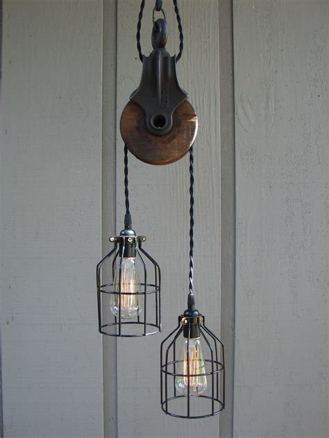pulley light upcycled vintage farm pulley lighting pendant with bulb cages