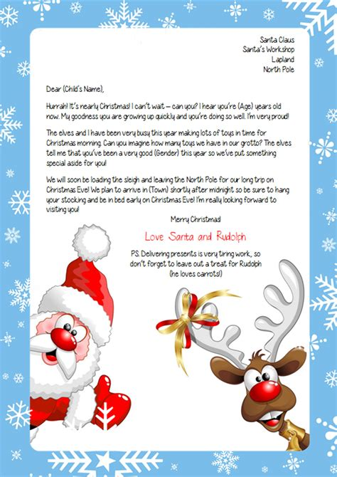 free printable personalised letter from santa template personalised letter from santa