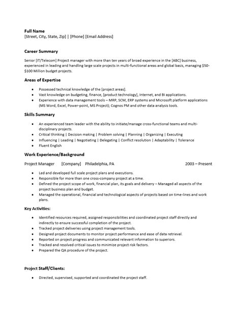 Free Project Manager Resume Template Sle Ms Word Project Manager Resume Template Microsoft Word