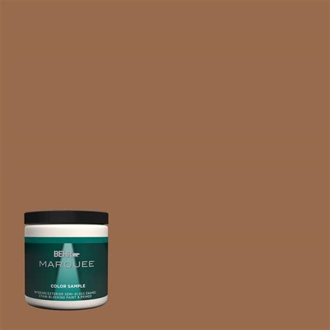 behr paint behr marquee 8 oz s230 7 toasted bagel one coat hide interior exterior semi gloss enamel paint