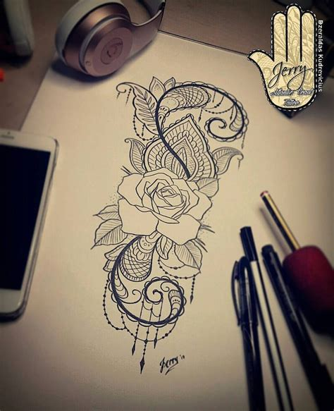Best 25  Lace rose tattoos ideas on Pinterest   Lace tattoo, Tattoo designs and Thigh piece