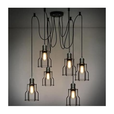 Cage Industrial Light Chandelier With Edison Bulbs By Industrial Cage Work Light Chandelier