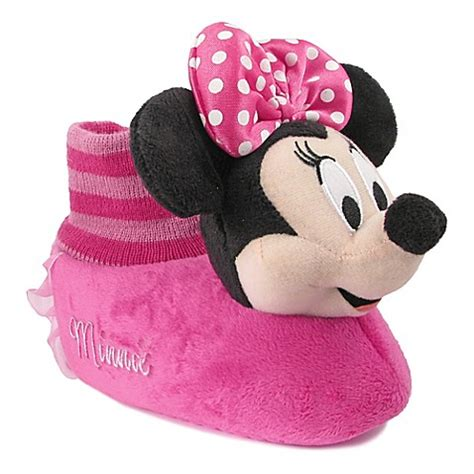 minnie mouse bedroom slippers disney 174 minnie mouse face sock top slipper buybuy baby