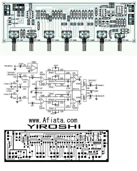 layout pcb yiroshi audio tone control yiroshi using tl072 electronic