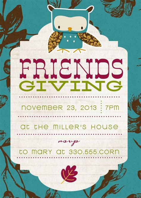 17 Best Images About Friendsgiving On Pinterest Thanksgiving Cocktails And Pumpkins Friendsgiving Invitation Free Template