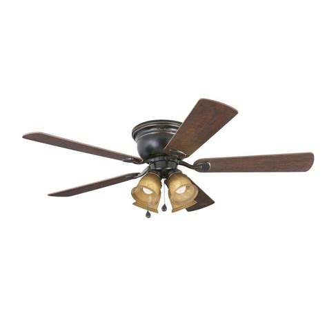 rubbed bronze ceiling fan with light flush mount shop harbor centreville 52 in rubbed bronze
