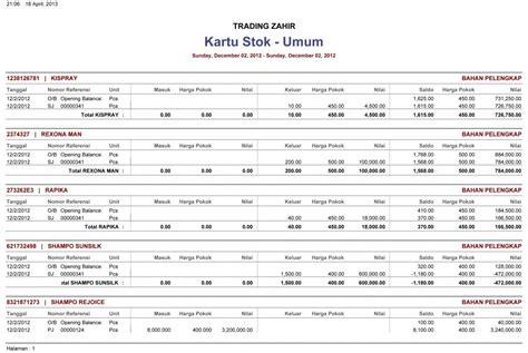 format laporan stok barang berbagai contoh laporan keuangan zahir accounting