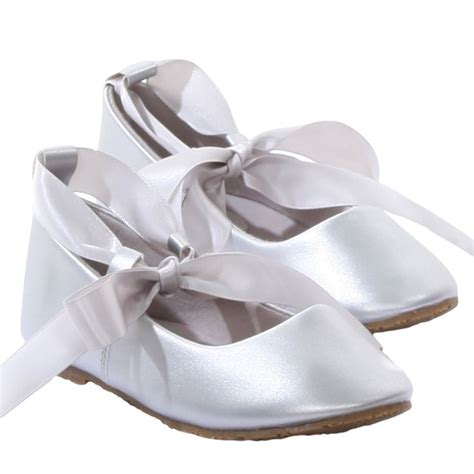 Flatshoes Ribbon Ss0026 silver ballet flats dress shoes with grosgrain ribbon tie baby toddler sizes flats