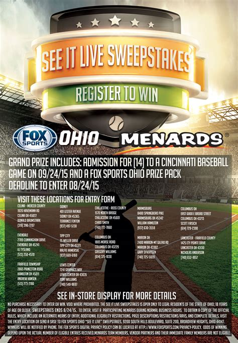 menards see it live sweepstakes fox sports - Menards Sweepstakes