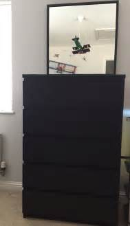 ikea malm chest of 6 drawers with mirror black posot class