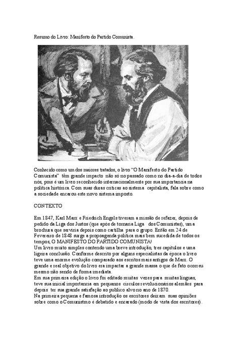 (DOC) Resumo do Livro manifesto do partido comunista