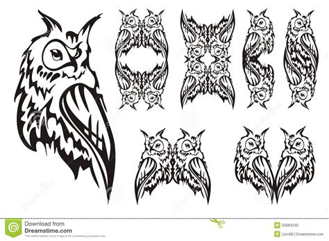 hibou tribal tatouage design illustration de vecteur