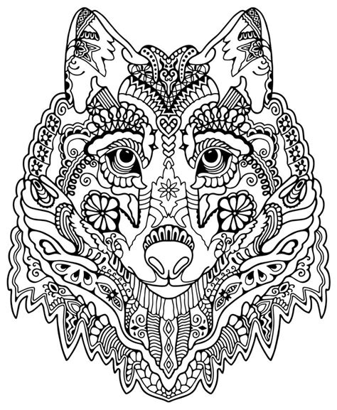Wolf Zentangle Outline by Wolf Abstract Doodle Zentangle Coloring Pages Colouring Detailed Advanced Printable