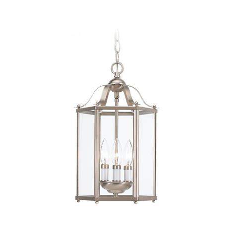 sea gull lighting 3 light brushed nickel foyer pendant
