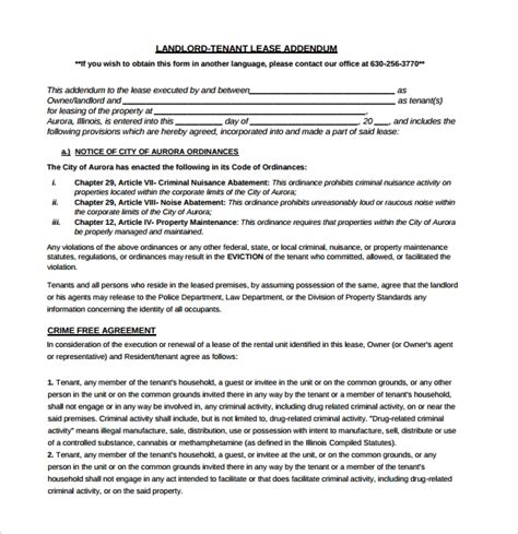 15 Lease Addendum Forms To Download For Free Sle Templates Lease Addendum Template