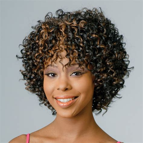 kinky curly short weaves for black woman new afro kinky curly synthetic wigs black brown hair short