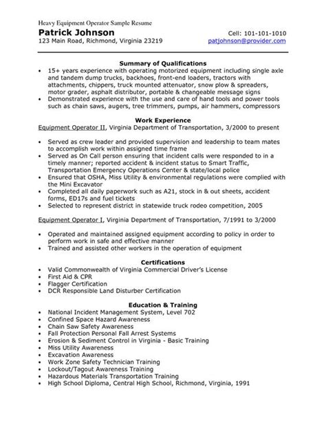 Heavy Equipment Resume Exles Sles Sle Resume Heavy Equipment And Resume On