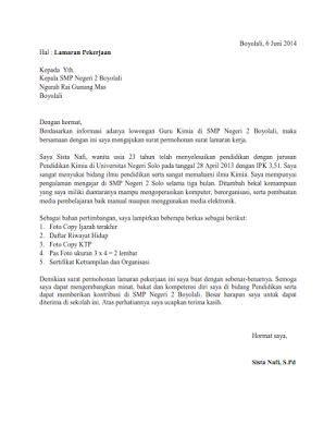 Contoh Application Letter Berdasarkan Iklan Surat Lamaran Pekerjaan Di Smp Contoh Lamaran Kerja Dan Cv