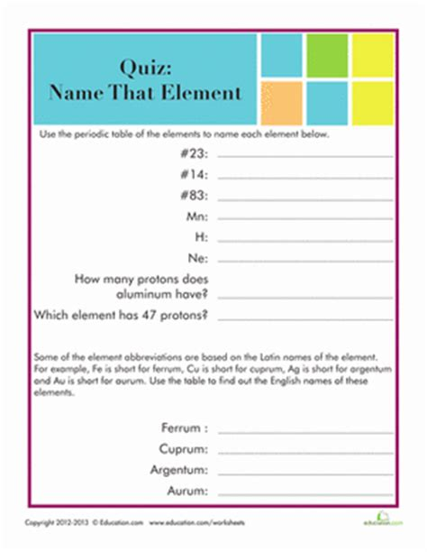 printable periodic table quiz periodic table quiz worksheet education com