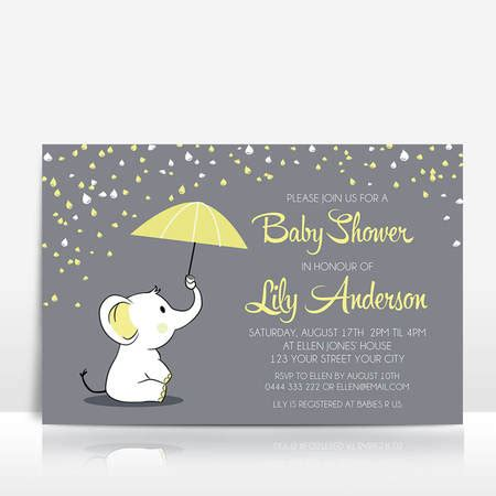 Yellow And Grey Baby Shower Invitations by Elephant Baby Shower Invitation Yellow On Grey With