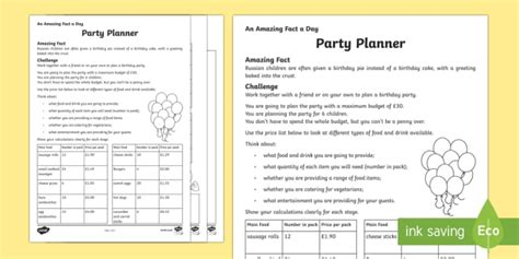 birthday party planning sheet everything i need on one a party planner worksheet activity sheet