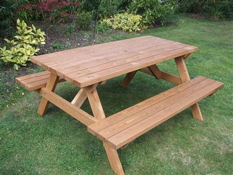outdoor table with bench wooden a frame picnic bench 6 seater e timber products
