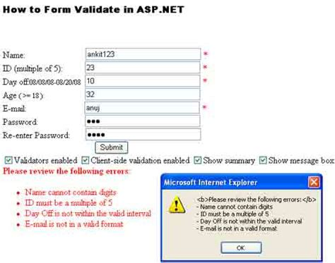 validation pattern in asp net how to validate form using server side validation in asp net