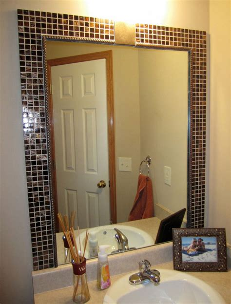 diy bathroom mirror frame tile interior design ideas