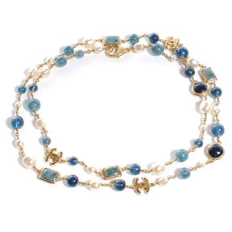chanel beaded necklace chanel beaded pearl cc strand necklace gold blue 57999