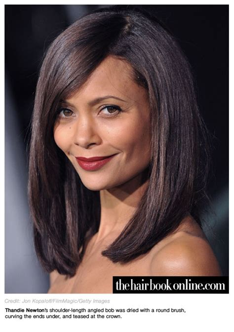 inverted bob at regis thandie newton shoulder length angled bob brunettes