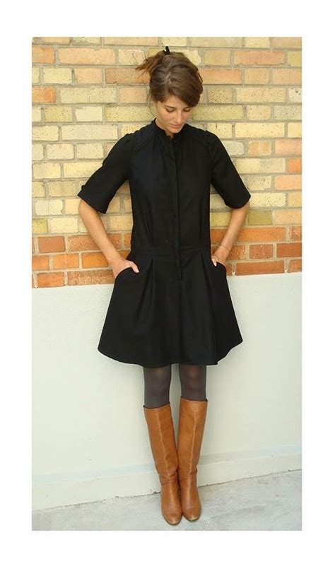 black dress gray tights brown boots