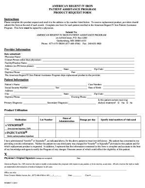 fillable online patient assistance program product