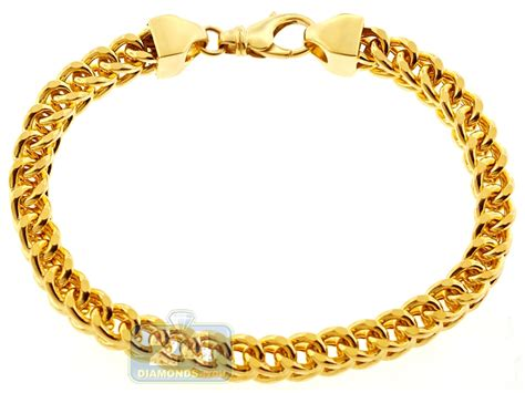 14k yellow gold franco link mens bracelet 7 mm 9 inches