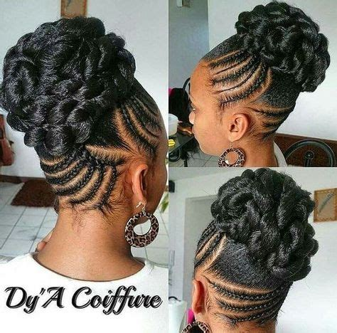 afro braided bangs hairstyle for receding hair line braided updos for black hair braided tresses pinterest