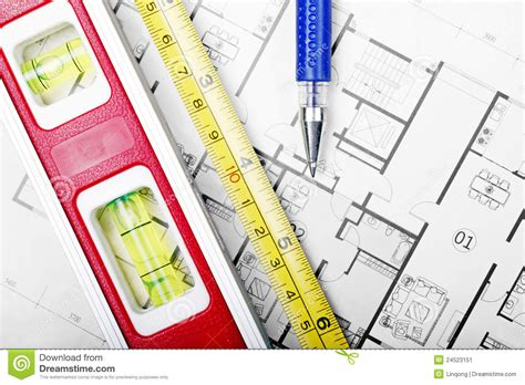 floor plan tools floor plan and tools stock image image 24523151
