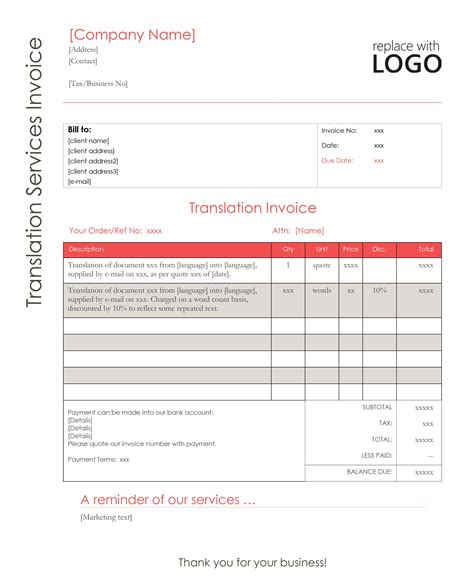 28 translation invoice template best photos of