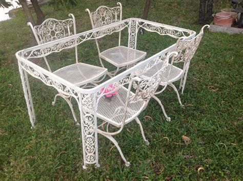 Shabby Chic Woodard Wrought Iron Chairs Vintage By Wrought Iron Patio Furniture Vintage