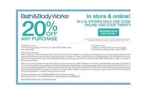 find coupon codes for bath and body works