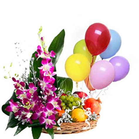 beautiful arrangement beautiful arrangement of orchids with 3 kg seasonal fruits and set of 6 pcs of blown