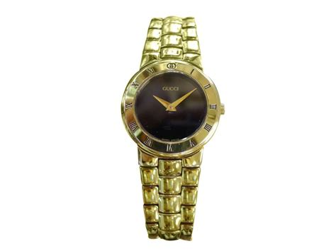 Gucci Gelang Gold Black 1 gucci 3300 2 l gold plated black numeral