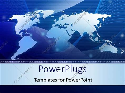 powerpoint template abstract world map technology blue