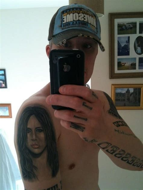 miley cyrus tattoo guy obsessed fan gets 17th miley cyrus inspired