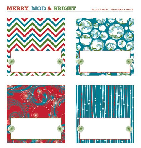 printable folding christmas gift tags merry mod bright holiday party free printables